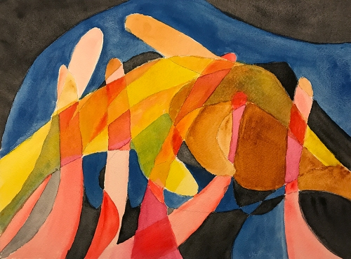 Watercolor: Abstract - Anemone and Hands 082817