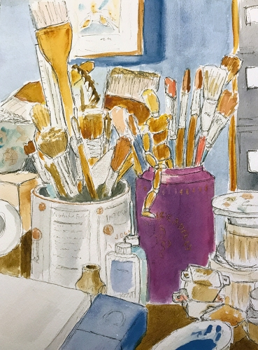 Watercolor: Studio Desk, Brushes 081517