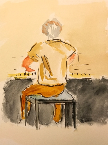 Watercolor: Figurative - Brother Dave Playing Piano 081817