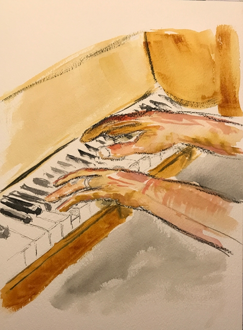Watercolor: Dave's Hands at the Piano 081817