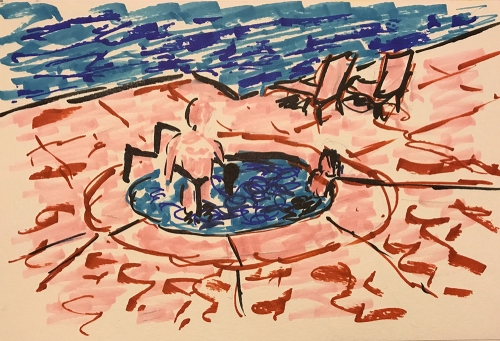 Watercolor: Poolside Hot Tub 080317