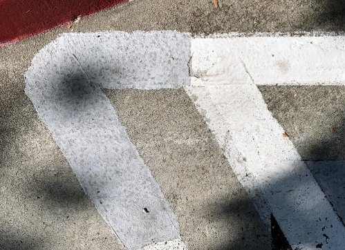 Photograph: Street Photography - White, Gray Lines and Red Arc 083117