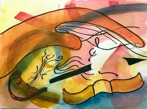 Watercolor: Abstract - Musical Bits 082717