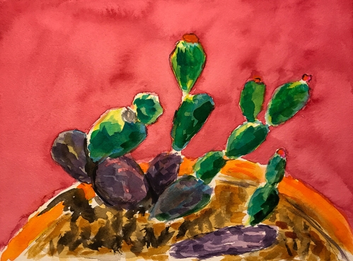 Watercolor: Rescued Cacti 080817