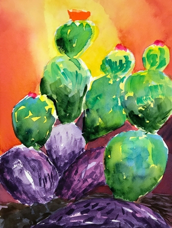 Watercolor: Rescued Cacti Remembered 080917