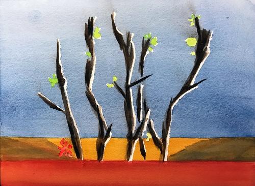 Watercolor: Squirrel-Eaten Succulent 081117