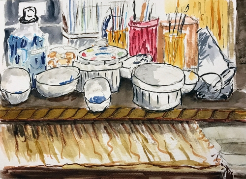 Watercolor: Studio Desk 081117