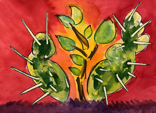 Watercolor: Cacti Protecting a Succulent 081217