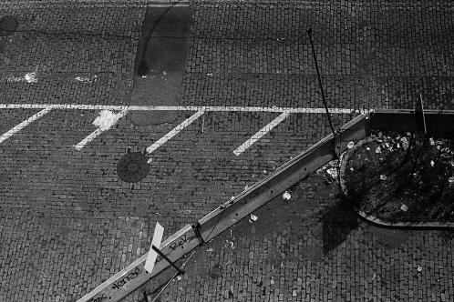 Photograph: White Lines Over Brick (NYC 1991)