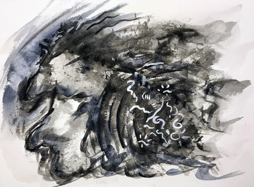 Watercolor: Abstract - Black on White 090917