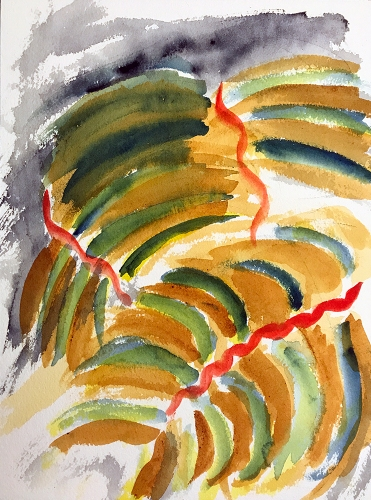 Watercolor: Abstract - Leaves and Lasagna 090717