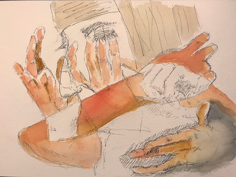 Watercolor: Abstract - Hands and Mike with Bandage 090517