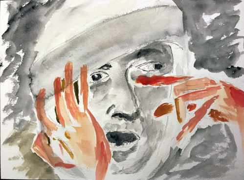 Watercolor: Abstract - Hands and Mike's Face 090317