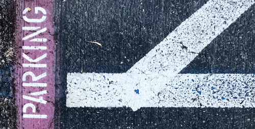 Photography: Painted Lines on Parking Lot - Obtuse Angle 102417