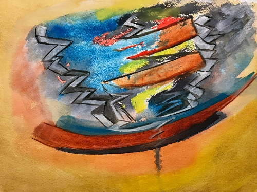 Watercolor: Abstract - Distal End of Rope Trip 101517