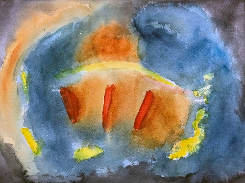 Watercolor: Abstract Three Red Marks 101217