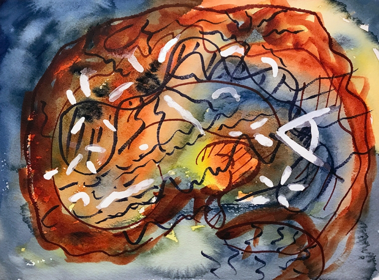 Watercolor: Abstract - Moth-eaten Aging Brain 112717