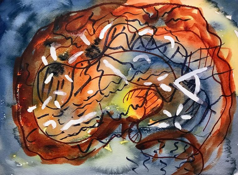 Watercolor: Abstract - Moth-eaten Aging Brain 112717