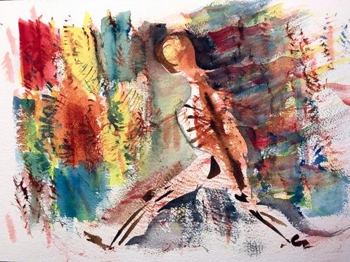 Watercolor: Abstract - Smoldering Man 110717