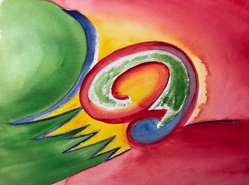 Watercolor: Abstract - Spirals and Sharps 111217