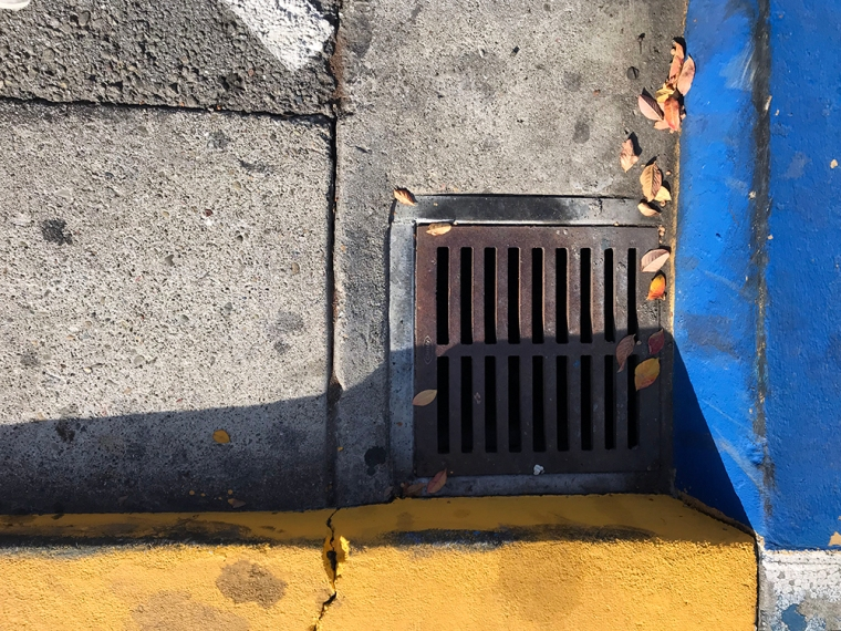 Photography: Street Photography - Yellow and Blue Drain 120217