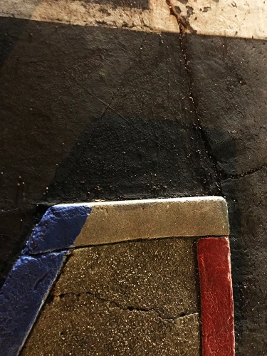 Photography: Street Photography - Blue White Red Curb with Headlight Lighting 122817