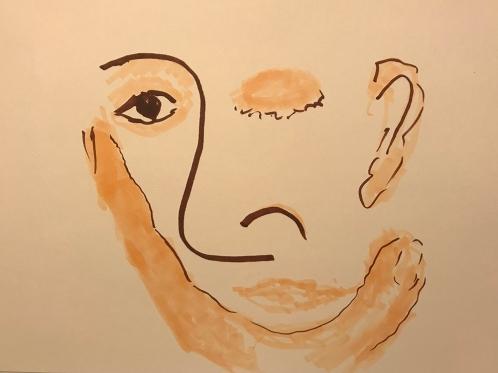 Marker Sketch: Abstract Portrait Contemplator 122017