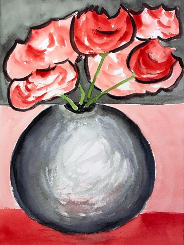 Watercolor: Vase and Flowers 120717
