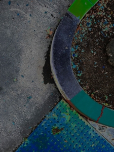 Photography: Street Photography - Solarized, Painted Stripes on Curved Curb 101018