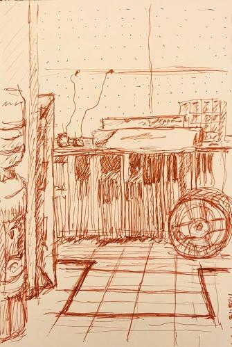Pen and Ink: Open Door and Water Cooler 012818