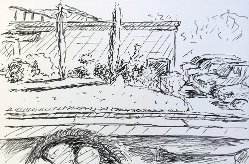 Pen and Ink: Side of Restaurant 012118