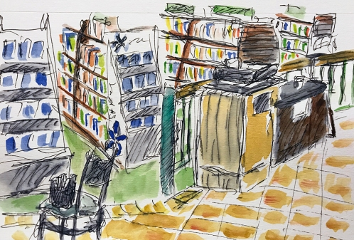 Pen and Ink Watercolor: View from the Cafe 011818