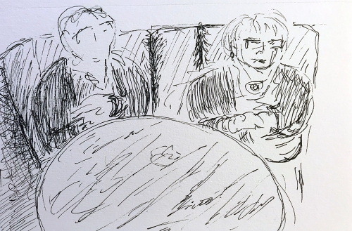 Pen and Ink: Waiting for a Table 012018