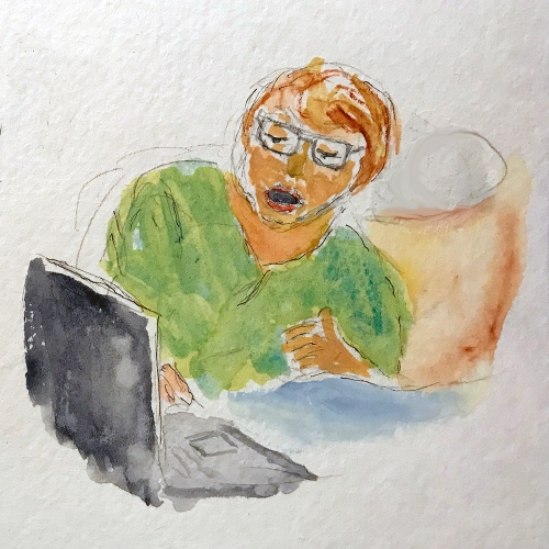 Watercolor: Thumbnail - Looking at Old Pictures 020218