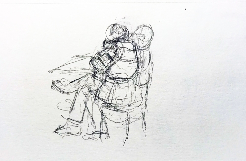 Sketch: Pencil - Man in Puffy Jacket