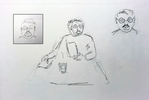 Sketch: Pencil, Pen and Ink - Mustachioed Man with Inset