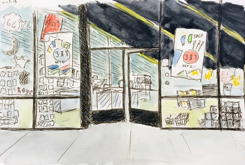 Sketch: Pencil, Pen and Ink, Watercolor - Storefront at Night