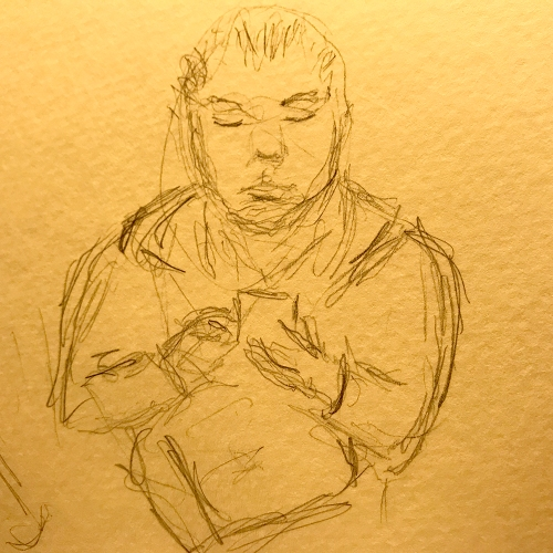 Sketch: Person Waiting While Looking at Her Phone 020918
