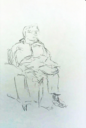 Sketch: Pencil - Man in Waiting Room