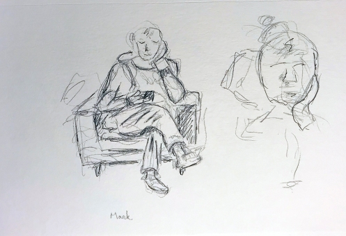 Sketch: Pencil, Pen and Ink - Seated Man with Face Inset