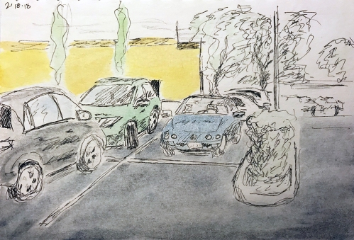 Sketch: Pencil, Pen and Ink, Watercolor - Tinted Parking Lot