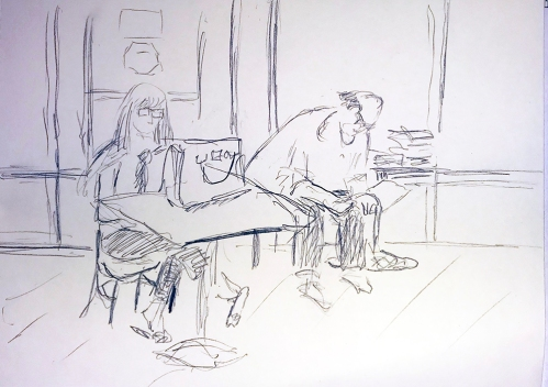 Sketch: Pencil - Back Again, Man Reading From Yesterday