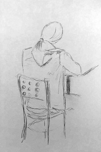 Sketch: Pencil - Girl at Table