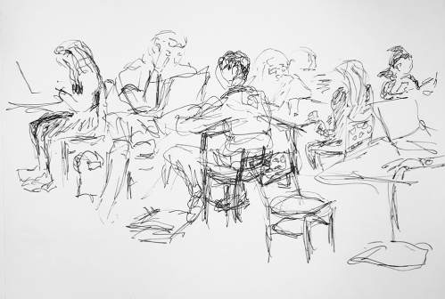 Sketch: Pen and Ink - Lots of Readers