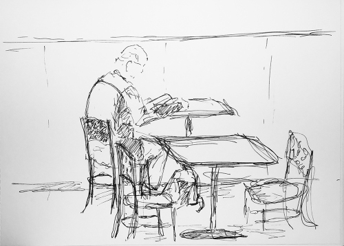 Sketch: Pen and Ink - Man Reading