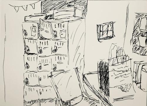 Sketch: Pen and Ink - Break Room