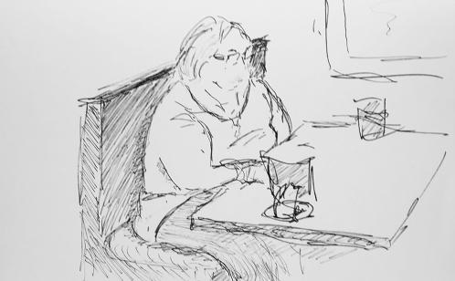 Sketch: Pen and Ink - Grandma's Treat