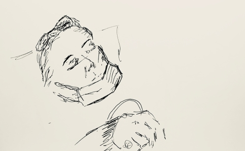 Sketch: Pen and Ink - Infusion Patient