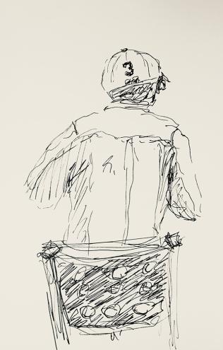 Sketch: Pen and Ink - Man in Ballcap #3