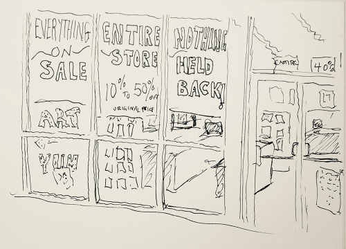 Sketch: Pen and Ink - New Storefront (For Now)